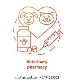 Pharmacy concept icon. Veterinary medication prescription idea thin line illustration. Animal medicine therapy research and treatment. Pet healthcare. Vector isolated outline drawing