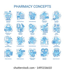 Pharmacy concept icons set. Regulatory, scheduled medication and prescription drugs idea thin line illustrations. Online medicine consultation. Vector isolated outline drawings. Editable stroke