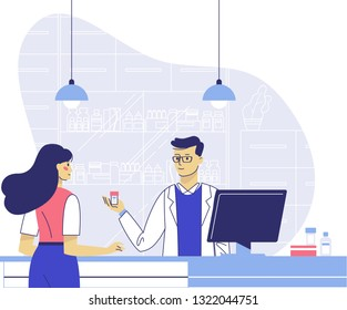 Pharmacy concept with pharmacist and patient. Doctor pharmacist seller and young woman customer in drugstore. Health care and conceling medication.