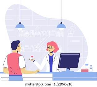 Pharmacy concept with pharmacist and patient. Doctor pharmacist seller and young man customer in drugstore. Health care and conceling medication.