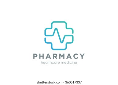 Pharmacy Cross with cardiogram line Logo design vector template Linear style.  Medical Clinic Healthcare Hospital Logotype. Medicine icon.