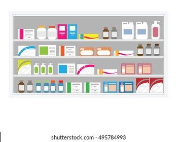 Pharmacy drug shelf in hospital