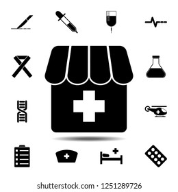The pharmacy, drugstore, apothecary, dispensary, chemist's shop icon. Simple glyph vector element of Medecine set icons for UI and UX, website or mobile application