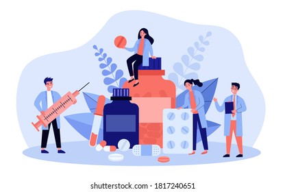 Pharmacy and drugstore concept. Tiny pharmacists presenting drugs, antibiotic pills, vitamin, syringe, bottles. Vector illustration for medication, pharmaceutical store, cure topics