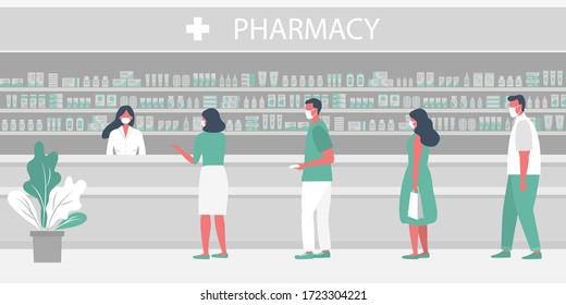 Pharmacy during the coronavirus epidemic. People in medical masks in the pharmacy. The pharmacist stands near the shelves with medicines. Visitors keep their distance in line. Vector flat illustration