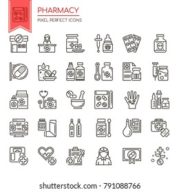 Pharmacy Elements. Thin Line and Pixel Perfect Icons