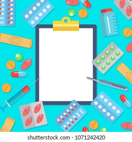Pharmacy flat postern with icons of medicines and health care. Tablets blisters patch thermometer syringe with clipboard in centre symbols vector illustration. Pharmacy concept frame