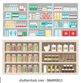 Pharmacy and herbalist's shop shelves and display with products, medicines, natural remedies, jars bottles and boxes