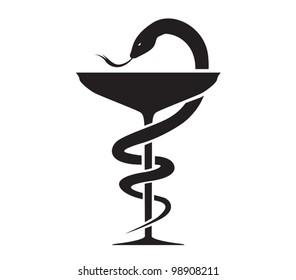 Pharmacy Icon with Caduceus Symbol