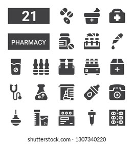 pharmacy icon set. Collection of 21 filled pharmacy icons included Pills, Pipette, Medicine, Vitamins, Enema, Emergency phone, Eye drops, Stool test, Flask, Phonendoscope, Add