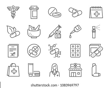 Pharmacy icon set. Included the icons as medical staff, drug, pills, medicine capsule, herbal medicines, pharmacist, drugstore and more