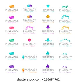 Pharmacy Icons Set - Isolated On White Background - Vector Illustration, Graphic Design Editable For Your Design. Pharmacy Logo