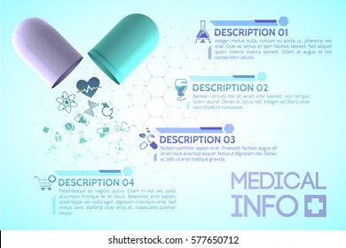 Pharmacy information poster with science and health symbols realistic vector illustration