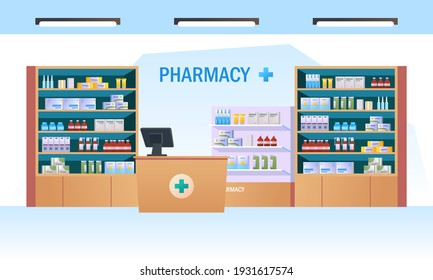 Pharmacy interior with counter and drug on shelves illustration
