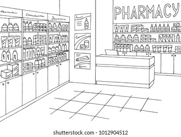 Pharmacy interior graphic store shop black white sketch illustration vector
