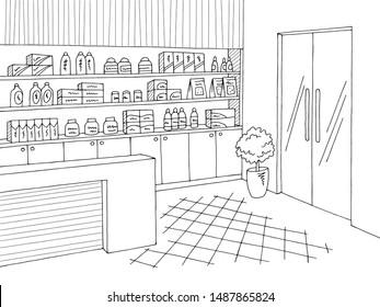 Pharmacy interior graphic store shop black white sketch illustration vector