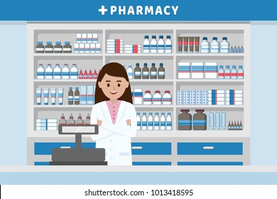 Pharmacy interior with pharmacist and cashier counter flat design illustration vector.