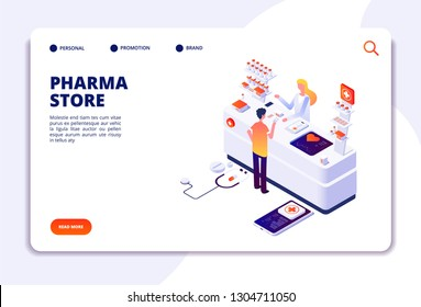 PHARMACY ISOMETRIC CONCEPT. Doctor pharmacist and patient in drugstore. Medication and healthcare vector landing page
