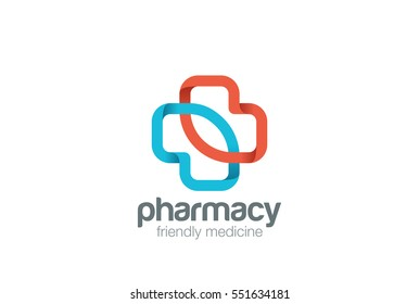 Pharmacy Logo eco green cross design vector template. Clinic Medicine Logotype concept icon