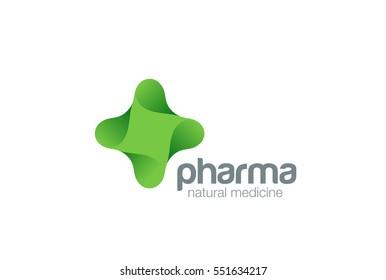 Pharmacy Logo eco green cross design vector template. Natural Organic medicine Logotype concept icon