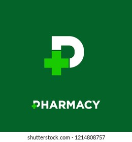 Pharmacy logo. Letter P with pharmacy cross icon, isolated on a dark-green background. Letter P and medical cross. Drugstore, apothecary icon.