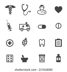 pharmacy and medical icons, mono vector symbols