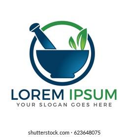 Pharmacy medical logo design. Natural mortar and pestle logo.