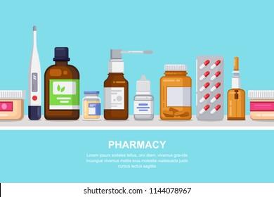 Pharmacy, medicine and healthcare vector horizontal seamless background. White shelf with pills, drugs, bottles, flat illustration. Drugstore concept.