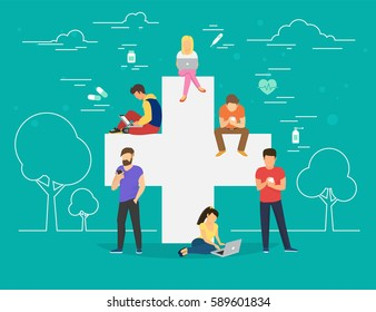 Pharmacy mobile app concept. Flat illustration of young men and women near big cross symbol and using smart phones for ordering and purchase pills and medicine drugs via mobile app and internet