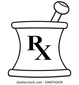 Pharmacy Mortar Illustration - A vector cartoon illustration of a Pharmacy Mortar icon.
