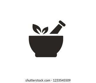 Pharmacy, pestle and mortar icon sign symbol
