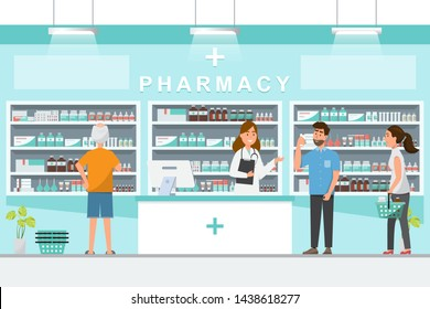 pharmacy with pharmacist and client in counter. drugstore cartoon character design vector illustration