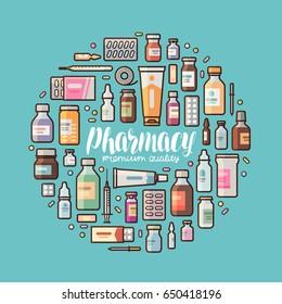 Pharmacy, pharmacology banner. Medical supplies, drugs, medicine, medication set icons or symbols. Lettering vector illustration