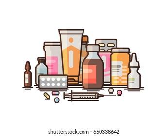 Pharmacy, pharmacology, drugstore, medical supplies banner. Modern medicine, hospital, healthcare concept. Vector illustration