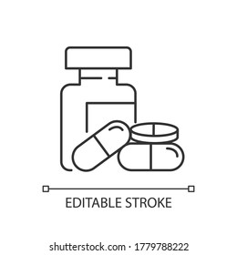 Pharmacy pixel perfect linear icon. Pills in bottles. Medications prescription. Thin line customizable illustration. Contour symbol. Vector isolated outline drawing. Editable stroke