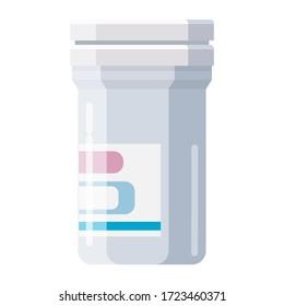 Pharmacy of plastic white bottle with cap for medicine, pills, tabs, drugs, cosmetic, sport, syrup. Template mockup packaging design. Vector illustration isolated