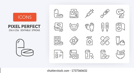 pharmacy products and services thin line icon set. Outline symbol collection. Editable vector stroke. 256x256 Pixel Perfect scalable to 128px, 64px...