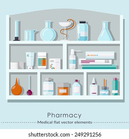 Pharmacy set in flat style.  Healthcare and medical concept. Vector illustration