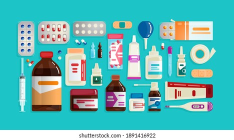 Pharmacy set items. Medicines, medical products. Vector illustration in flat cartoon style.