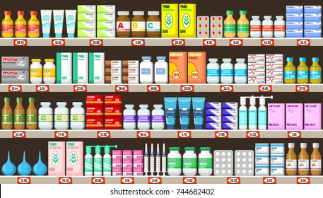 Pharmacy shelves with medicine.Vector illustration