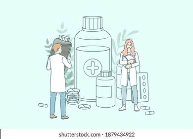 Pharmacy shop concept. Young people doctors pharmacists working between drugs bottles and jars and various medicaments in pharmacy store vector illustration Vector Illustration.