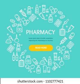 Pharmacy Signs Round Design Template Thin Line Icon Frame or Border Concept. Vector illustration of Medicine Service Ad
