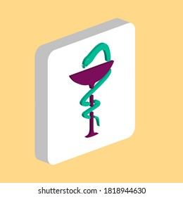 Pharmacy snake Simple vector icon. Illustration symbol design template for web mobile UI element. Perfect color isometric pictogram on 3d white square. Pharmacy snake icons for business project
