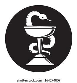 Pharmacy Snake Symbol illustration. Editable Vector