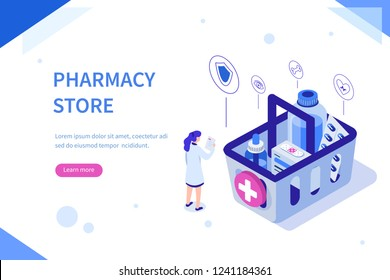 Pharmacy store concept. Can use for web banner, infographics, hero images. Flat isometric vector illustration isolated on white background.