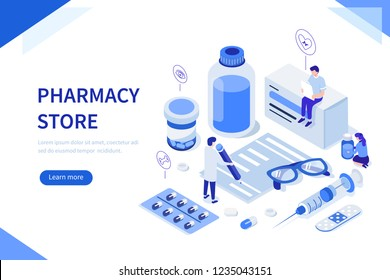 Pharmacy store concept with characters. Can use for web banner, infographics, hero images. Flat isometric vector illustration.
