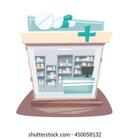 Pharmacy store interior. Street local drugstore building. Medicine retail shop inside shelves and showcases. Cartoon vector illustration.