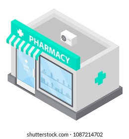 Pharmacy store office icon. Isometric of pharmacy store office vector icon for web design isolated on white background