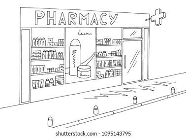 Pharmacy store shop exterior graphic black white sketch illustration vector