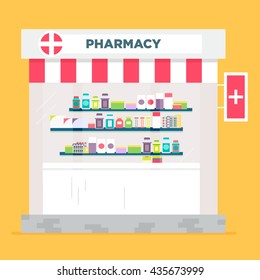 The pharmacy store vector flat illustration. Classical styled building.